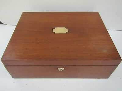 Old Mahogany Wooden Work Box with Sliding Trays