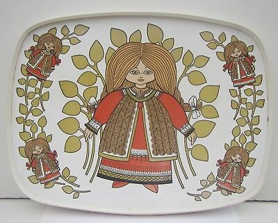 Vintage 1960s Retro Scandinavian Folk Art Style Drinks Tray