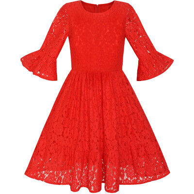 Girls Dress Red Bell Sleeve Lace Ruffle Skirt Holiday Dress Age 5-12 Years