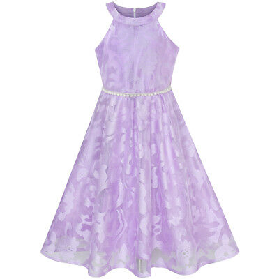 Flower Girl Dress Purple Lace Pearl Wedding Bridesmaid Gown Age 6-12 Years Party