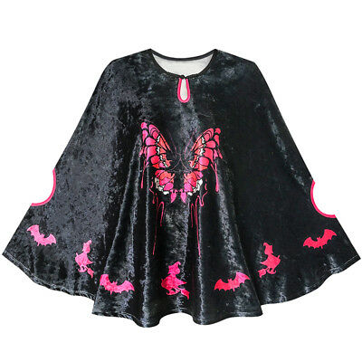 Halloween Witch Cape Velvet Cloak Butterfly Bat Costume Wizard Age 4-12 Years