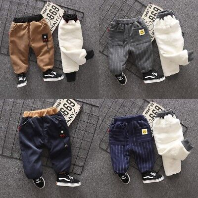 UK Kids Baby Pants Trousers Casual Plus Velvet Thick Warm Cotton Boys Stripe