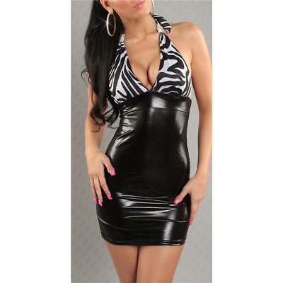 Sexy Minikleid Wetlook Latex-Look Gogo Clubwear Schwarz/weiss #mk1572