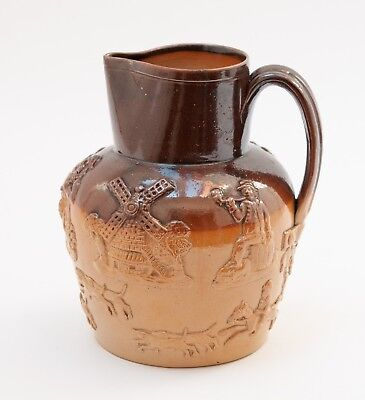 Antique Victorian Two Tone Salt Glazed Stoneware Harvest/Hunting Jug with Hounds
