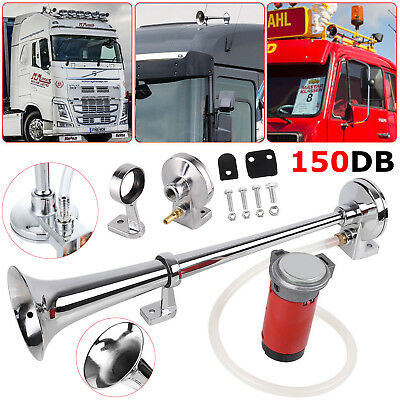 150DB Loud Single Trumpet Air Horn 12V Compressor For Train Truck Car Boat Lorry