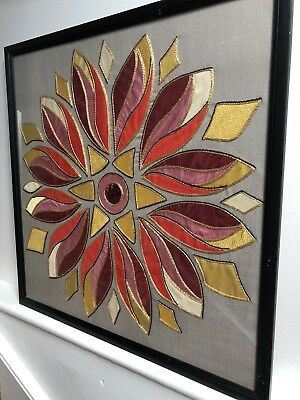 Original 1970s Large Fabric Collage Of A Flower - Hand Made