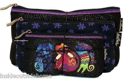 Laurel Burch Dancing Dog Doggies Makeup Bag Organizer Set 3pc + Tie String New
