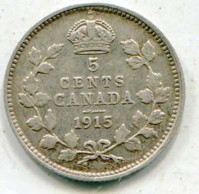 Canada 5 Cents silver 1915 nice coin key date  lotsep4528