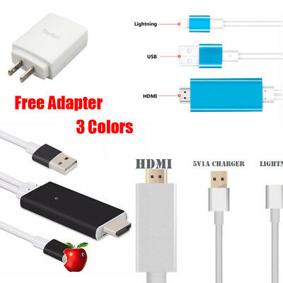 8 Pin Lightning to TV HDTV HDMI Mirroring Cable AV Adapter For Apple iPhone/iPad