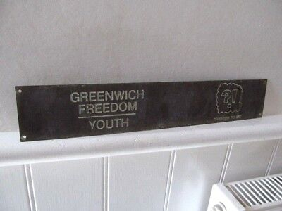 Vintage Greenwich Freedom Youth Brass Plaque