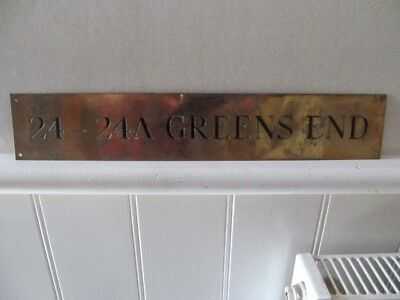 Vintage Greens End Brass Plaque