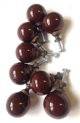 lot 8 BROWN CERAMIC PORCELAIN ROUND BALL CABINET KNOB DRAWER PULLS vtg japan