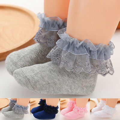 infant Toddlers Kids Girls Lace Ruffle Frilly Soft Cotton Princess Ankle Socks