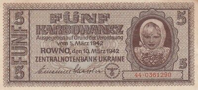 Ukraine / P-51 / 5 Karbowanez / *German Occupation* / 1942
