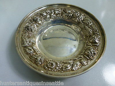 Vintage Stieff Sterling Repousse Rose Pattern Candy Dish