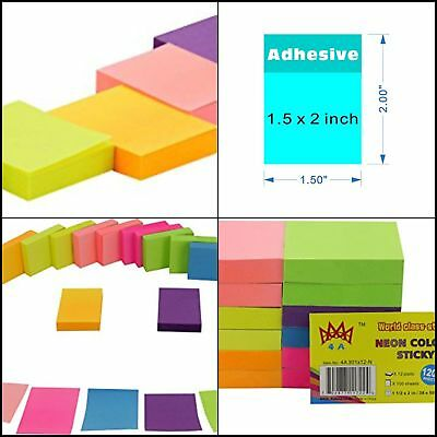 Neon Color Sticky Notes 1200 Pop Up Memo Reminder 12 Pads 100 Sheets