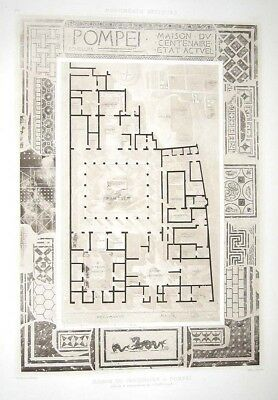 253 ~ POMPEII HOUSE OF CENTENARY ROOM PLAN LAYOUT ~ 1910 Architecture Art Print