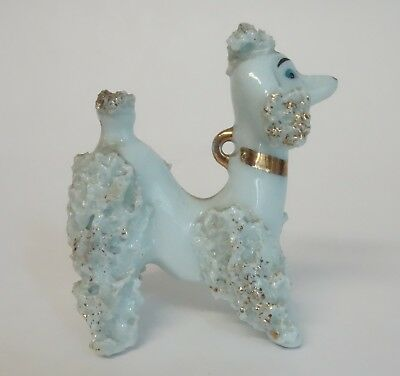 Vintage Blue French Poodle  Dog Figurine Spaghetti Porcelain Japan Miniature