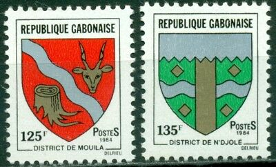 Gabon Scott #498-499 MNH Arms Type 125fr 135fr CV$2+