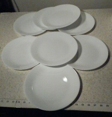 """8 Corelle Winter Frost White 10 1/4"""" Dinner Plates Good Used Condition No Chips"""