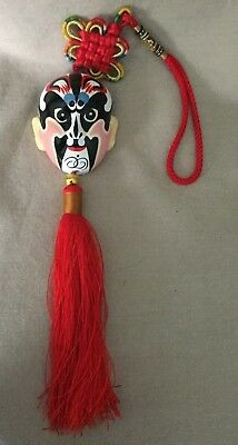 Chinese Opera Mask Ornament With Tassel & Knotted Hanging Loop