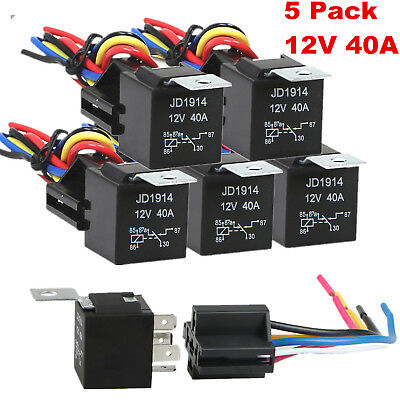 Harness Socket JD1914 30//40 Amp 5x 12V SPDT Car Automotive Relay 5-Pin 5 Wires