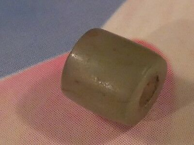 ANCIENT PYU RARE GREEN CHALCEDONY BARREL SHAPE  BEAD 6.7 BY 6 MM c/o pumtekman