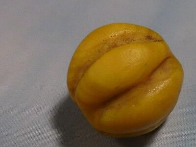 Antique Burmese Yellow Glass Fluted Melon Bead Rare And Gorgeous 11.2 By 11 Mm