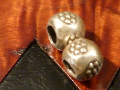 2-CUSTOM STERLING SILVER HEAVY 7 EYE BEADS FAMOUS IN THAILAND 6.8 by 5 HEAVY
