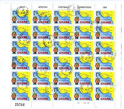 Ghana West Africa Football full sheets of 30 values 1/2d to 2/6 fine used