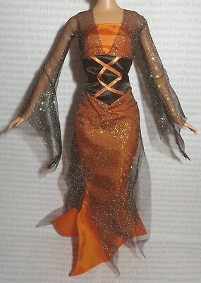 Evening W ~ Mattel Barbie Doll Black Orange Halloween Witch Costume Clothing