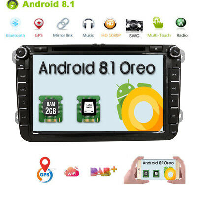 Für VW Skoda Passat Caddy ANDROID8.1 Autoradio 2GRAM GPS NAVI DVD Player DAB+