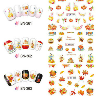 12 Patterns/Sheet Thanksgiving Nail Art Water Transfer Decal Stickers Maple Leaf