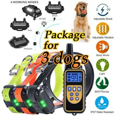 Rechargeable Remote Dog Training Shock Collar Anti Bark Waterproof for 2/3 Dogs