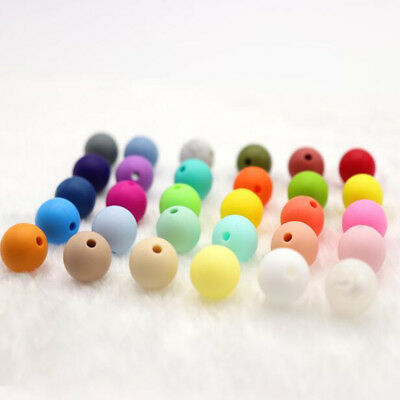 20X Silicone Teething Beads Round For Necklace Chews Pacifier Chain Clips Beads