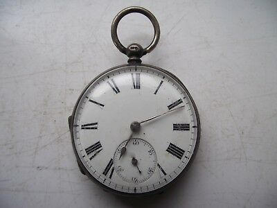 VICTORIAN 1875 STERLING SILVER HALLMARKED FUSEE POCKET WATCH 100.4g SEE PICS