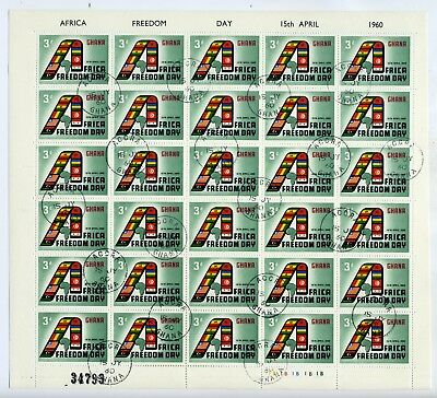 Ghana Africa Freedom full sheets of 30 values 3d, 6d & 1/- fine used