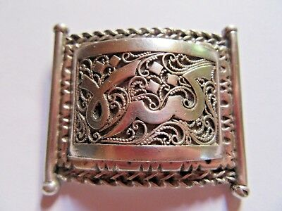 Superb Antique Islamic Arabic Script Filigree Solid Silver Brooch Pin