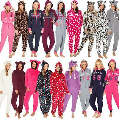 Womens/Ladies All In One Fleece Jumpsuit Pyjamas With Hood Size 8-22 NEW