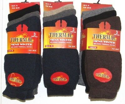3 Pairs Heavy Duty Winter Work Socks Extra Thick Long Warmth Multi Colour