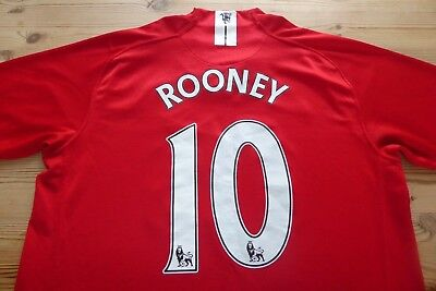 Manchester United 2007-2009 Football Soccer Shirt Jersey Top Rooney Large