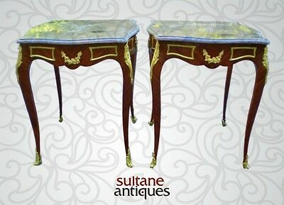 Fine Pair ornate Louis XV style marble top side tables