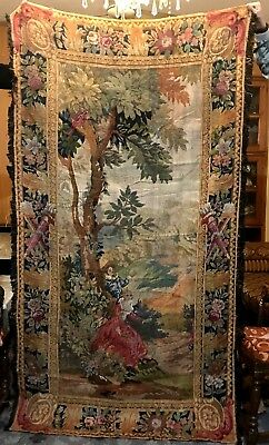 18th Century French Aubusson Verdure Tapestry Romantic Scene 48'' X 87''
