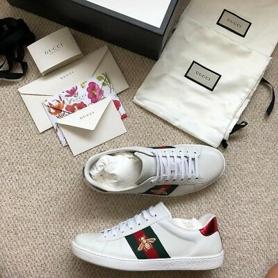 770af343d NEW GUCCI ACE Bee Trainers Mens Size 9 EU 44, white, shoes - £230.00 ...