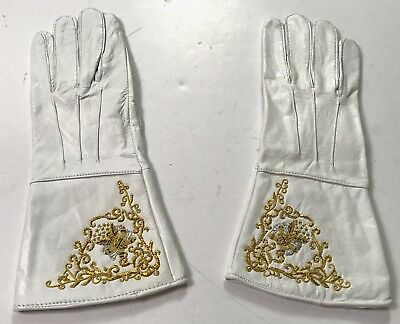 Civil War Us Union Embroidered Leather Gauntlets Gloves-Xlarge