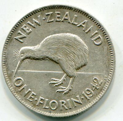 New Zealand Florin 1942 Key date nice coin   lotsep2565