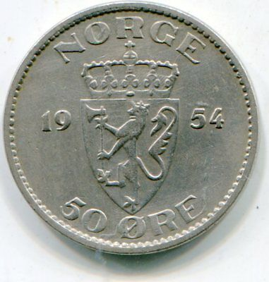 Norway 50 Ore 1954 key date nice coin    lotsep6470