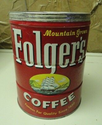 Vintage 2 lb Folger's Coffee Tin Can with Sailing Ship c. 1959