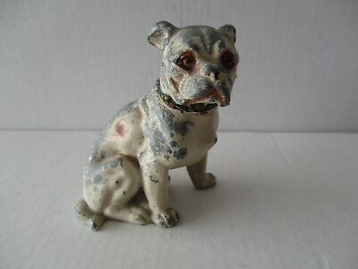 Antique Cold Painted Metal Boxer Dog