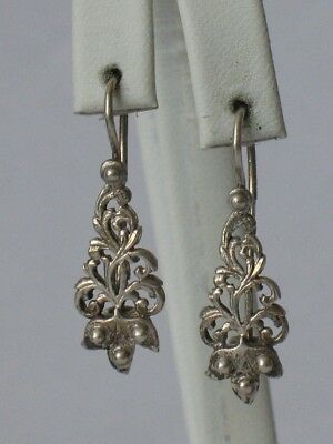 Antique Russian Sterling 875 Silver Ag Earrings Soviet USSR Big vtg Flowar Old